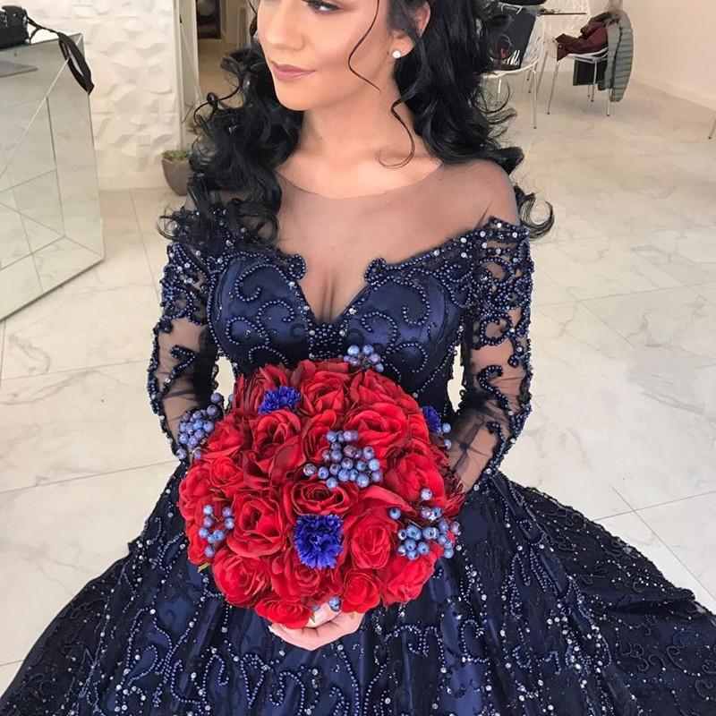 Navy Blue Satin Long Sleeves Wedding Dresses Ball Gowns With Embroidery Beaded