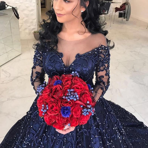Image of Navy Blue Satin Long Sleeves Wedding Dresses Ball Gowns With Embroidery Beaded