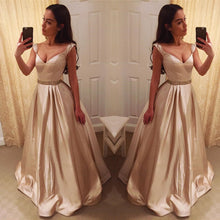 Load image into Gallery viewer, Deep V Neck Long Satin Champagne Evening Dresses Off Shoulder Prom Gowns
