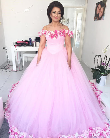 Image of Pink-Wedding-Dresses-Ball-Gowns