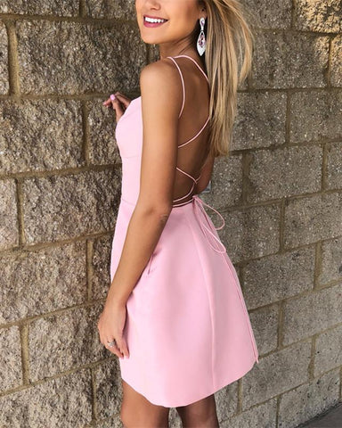 Image of Chic-Satin-Prom-Dresses-Short-Pink-Homecoming-Dress