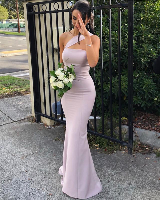 Long-Knitting-Mermaid-Bridesmaid-Dresses-One-Shoulder