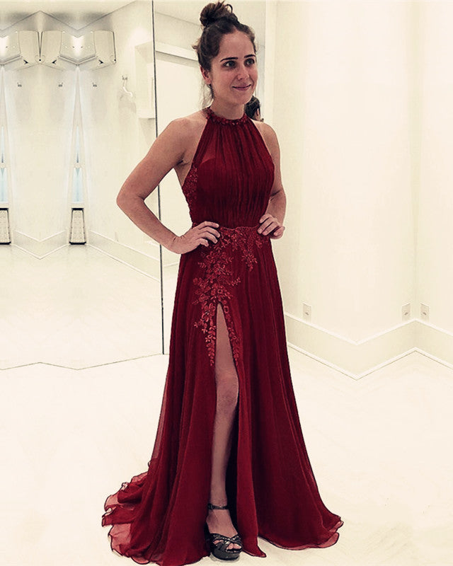 969e72fd79 Double tap to zoom · Halter-Prom-Long-Dresses-Tulle-Formal-Gowns-Lace-