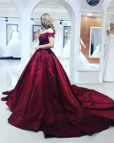 Image of burgundy ball gowns dresses