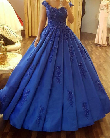 Image of Royal-Blue-Quinceanera-Dresses-Ball-Gowns-Lace-Sleeves-Wedding-Gown