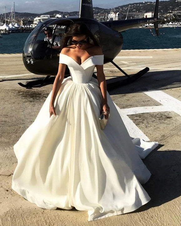 Off The Shoulder V Neck Satin Ball Gowns Wedding Dresses