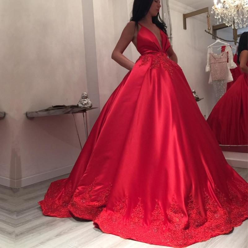 Deep V-neck Long Satin Ball Gowns Wedding Dresses Lace Appliques