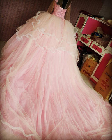 Image of Lace Appliques High Neck Long Sleeves Ball Gowns Wedding Dresses Pink