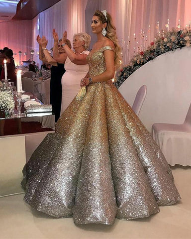 Image of Bling-Bling-Wedding-Dresses-Ball-Gowns-Sequins-Dresses-For-Anniversary