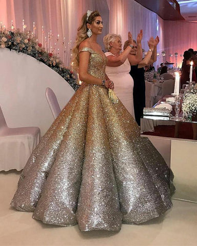 Image of Ombre-Quinceanera-Dresses-Ball-Gowns-Prom-Dresses-Off-The-Shoulder