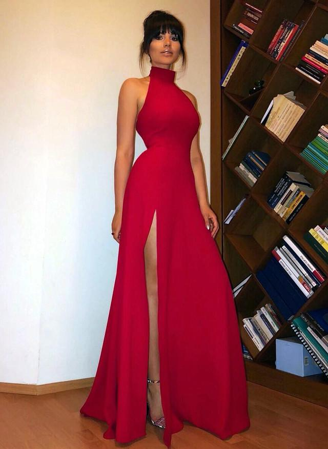 Long-Red-Prom-Dresses-High-Neck-Evening-Gowns