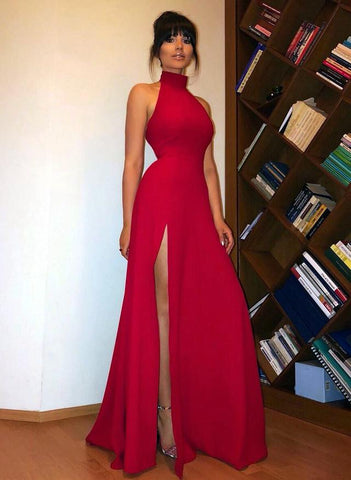 Image of Long-Red-Prom-Dresses-High-Neck-Evening-Gowns