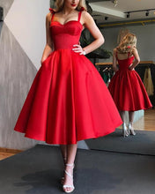 Afbeelding in Gallery-weergave laden, Red-Bridesmaid-Dresses-Tea-Length-Cocktail-Dresses