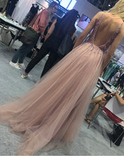 Load image into Gallery viewer, Open-Back-Prom-Gowns-Long-Tulle-Formal-Dresses