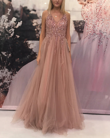 Image of Luxurious-Sequin-Beaded-Prom-Dresses-Tulle-Floor-Length-Evening-Gowns