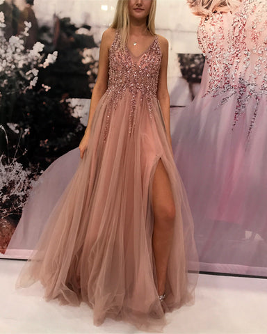 Image of Sexy-Prom-Dresses-Tulle-Sequin-Beaded-Formal-Gowns
