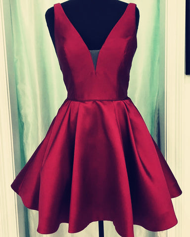 Image of Burgundy-Graduation-Dress-Short-Semi-Formal-Dresses-For-8th-Grade-Prom