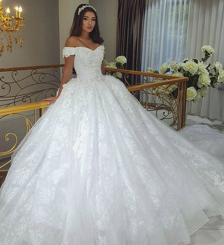 Image of lace embroidery wedding dresses