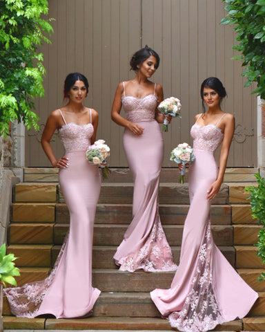 Image of Pale-Pink-Mermaid-Formal-Gowns-Long-Jersey-Bridesmaid-Dresses-Lace-Appliques