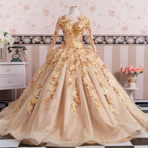 Image of Gold Long Sleeves Wedding Dresses Ball Gowns Lace Embroidery