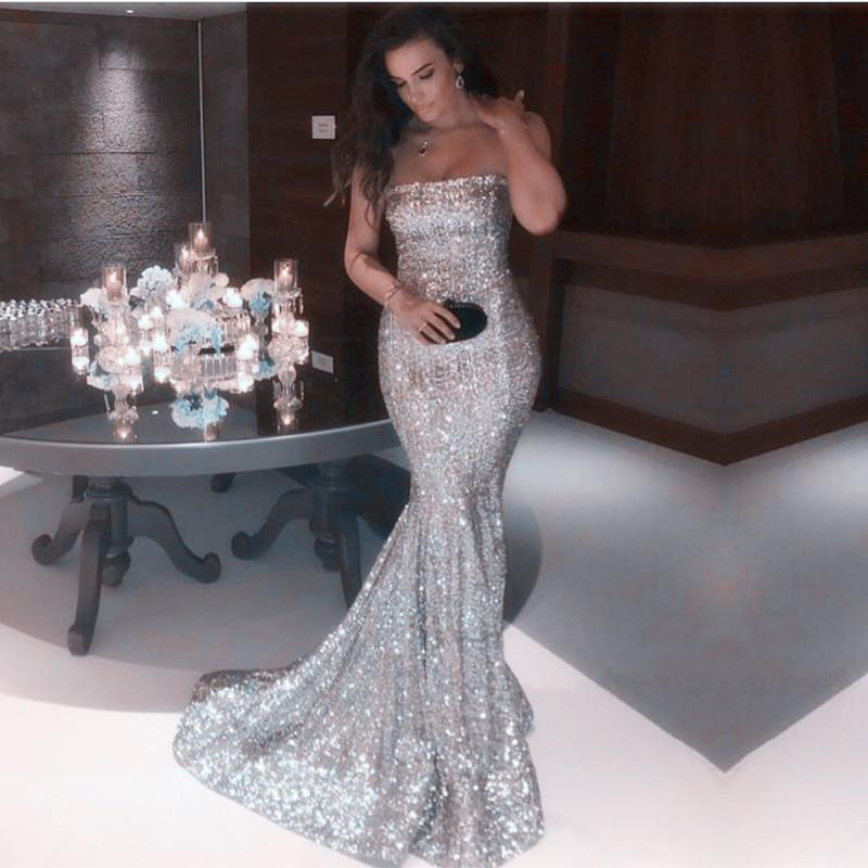 Long Gold Sequins Strapless Prom Dress Mermaid Evening Gowns