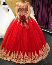 Load image into Gallery viewer, gold-lace-quinceanera-dresses