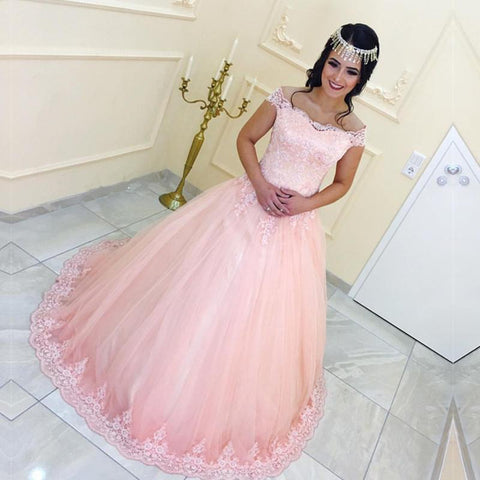 Image of Lace Appliques Off Shoulder Pink Tulle Quinceanera Dresses Ball Gowns