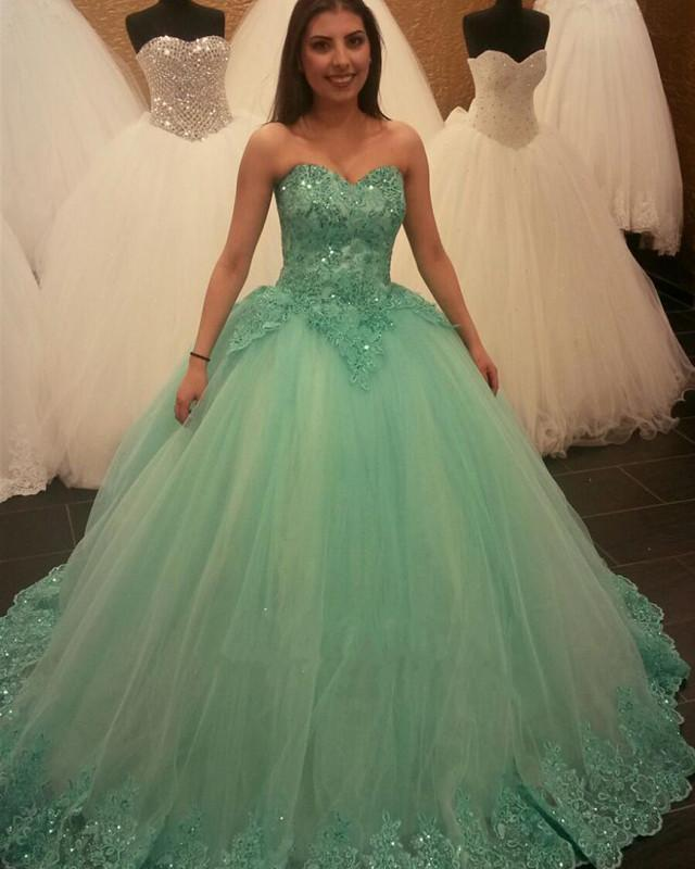 Mint Green Lace Beaded Sweetheart Ball Gowns Quinceanera Dresses