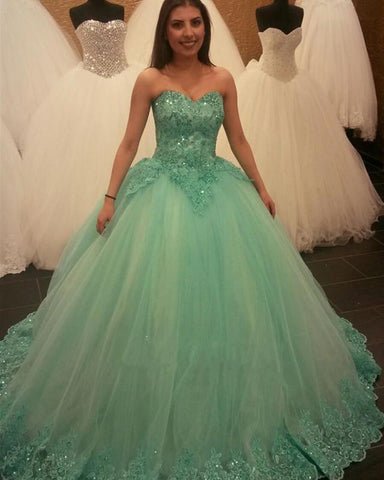 Image of Mint Green Lace Beaded Sweetheart Ball Gowns Quinceanera Dresses