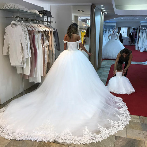 Image of Romantic sweetheart wedding dresses off the shoulder lace edge