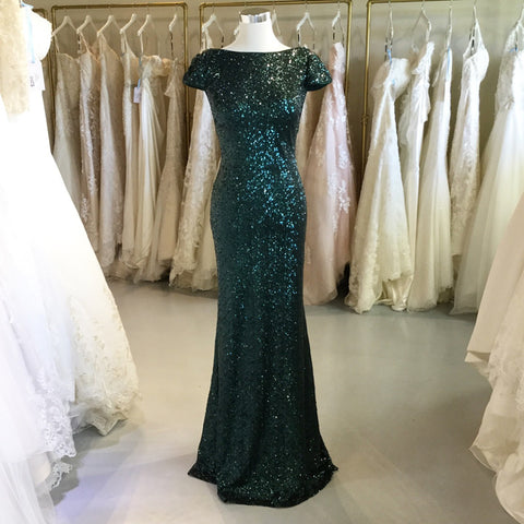 Image of Dark Green Sequin Mermaid Backless Bridesmaid Dresses