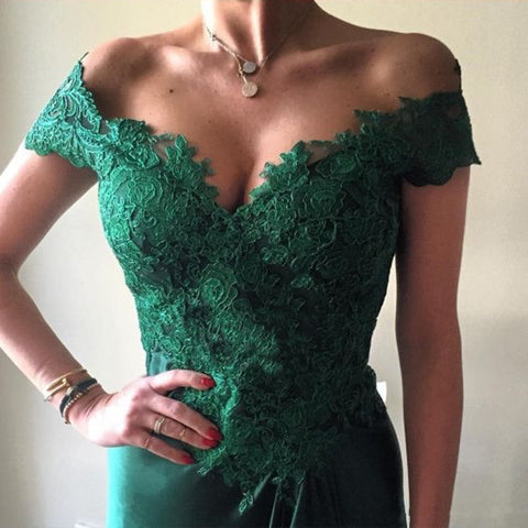 Image of green prom gowns