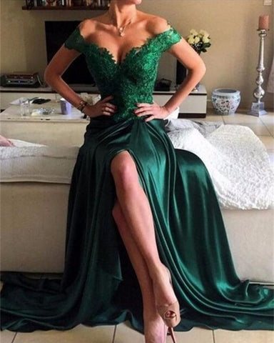 Image of emerald green evening dresses