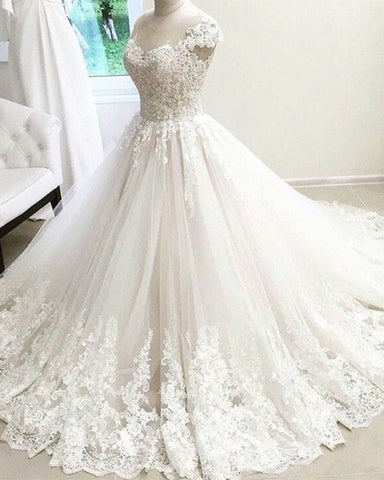 Image of cap-sleeves-wedding-gowns