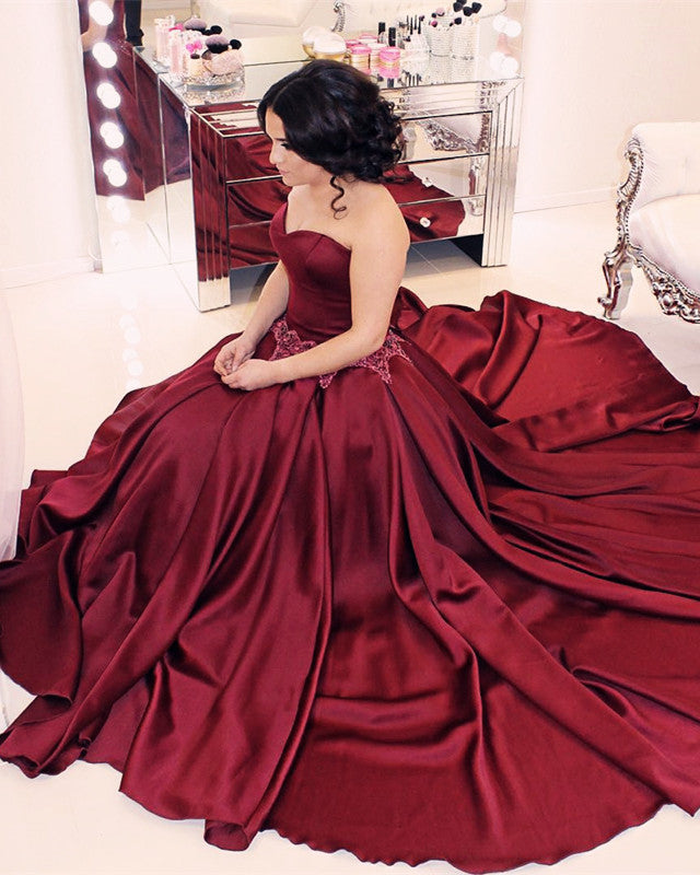 96429fff1b Burgundy Satin Sweetheart Ball Gown Wedding Dresses. Double tap to zoom
