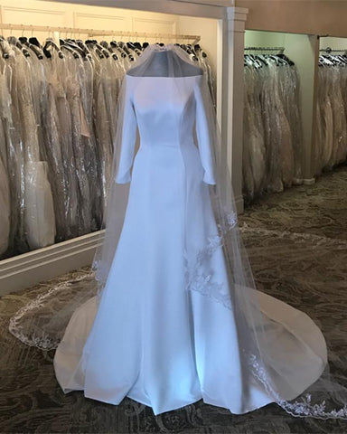 Image of Royal-Wedding-Dresses-Meghan-Markle-Satin-Bridal-Gowns-With-Sleeved
