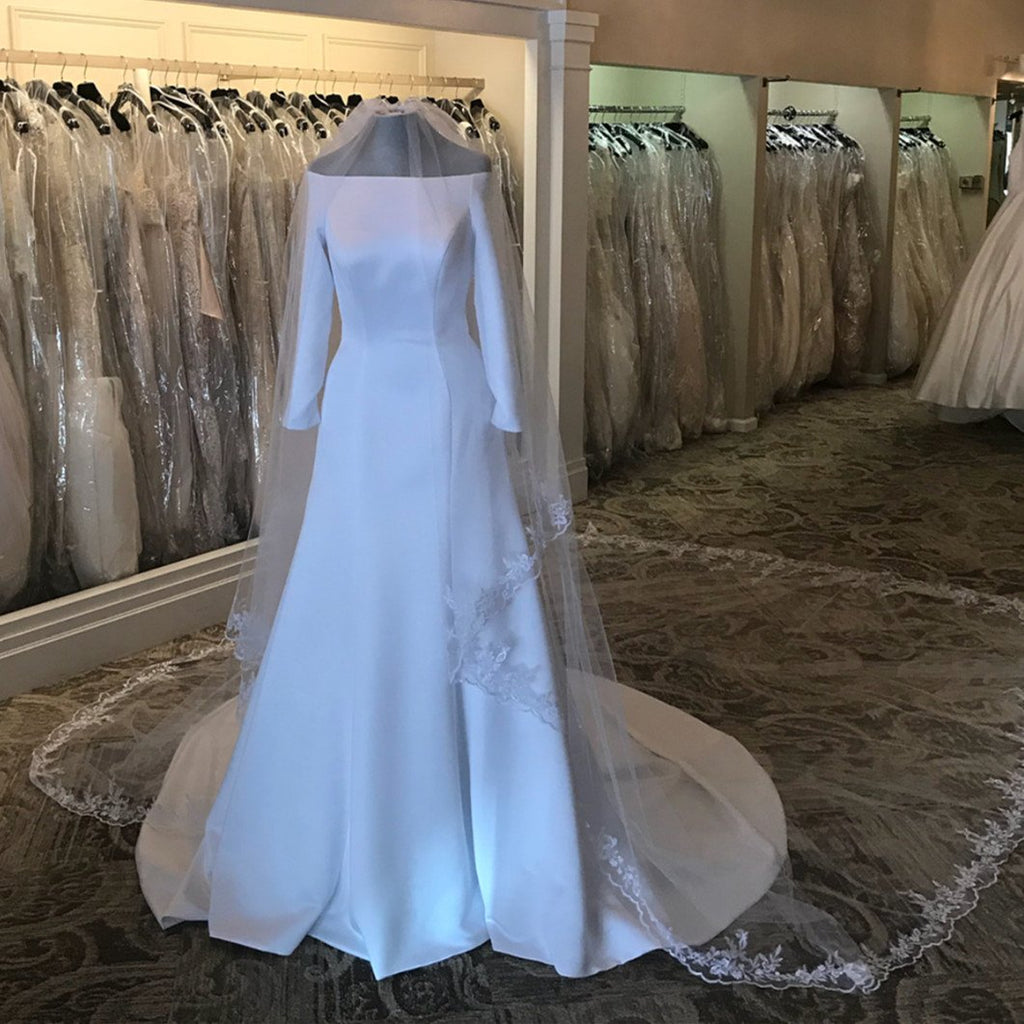 Duchess-of-Sussex-Wedding-Dresses-Royal-Satin-Wedding-Gowns