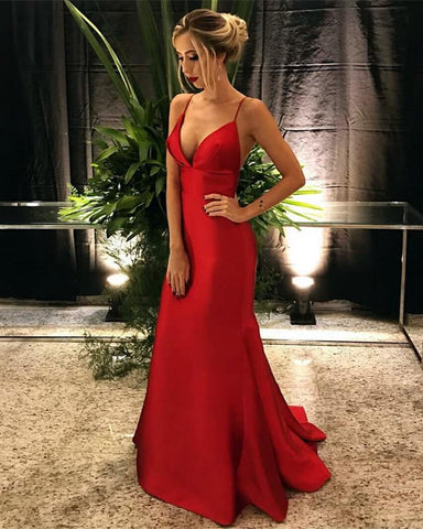 Image of Long-Red-Prom-Mermaid-Dresses-Bridesmaid-Wedding-Party-Gowns