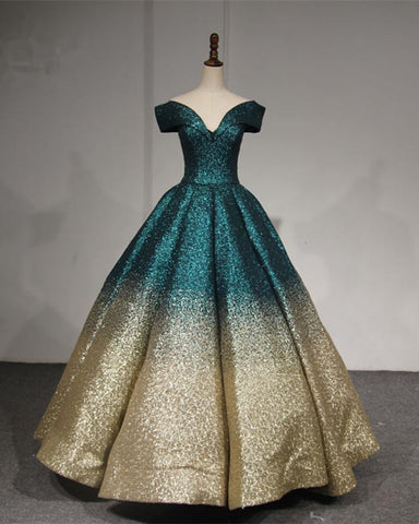 Image of V-neck Off The Shoulder Sequins Ball Gowns Quinceanera Dresses