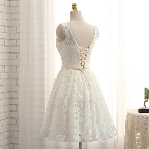 Image of A Line Lace Prom Homecoming Dresses Short
