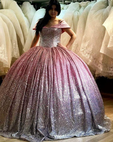 Image of Ombre-Wedding-Dresses-Bling-Bling-Sequin-Ballgowns-Off-Shoulder