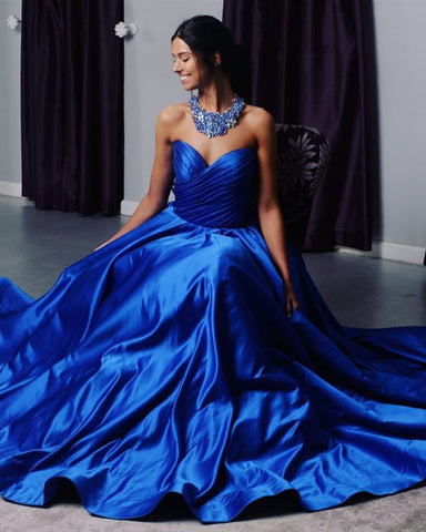 Image of royal blue satin dresses