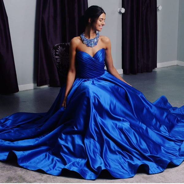 Ruched Sweetheart Royal Blue Satin Prom Dresses Ball Gowns