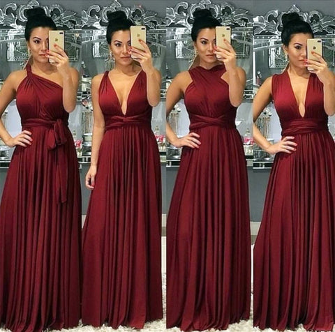 Image of Sexy-Long-Burgundy-Bridesmaid-Dresses