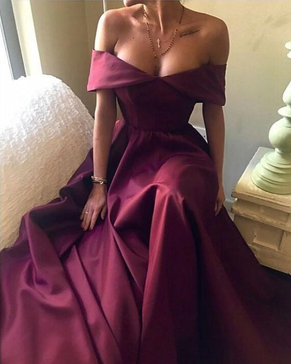 dark red evening dress