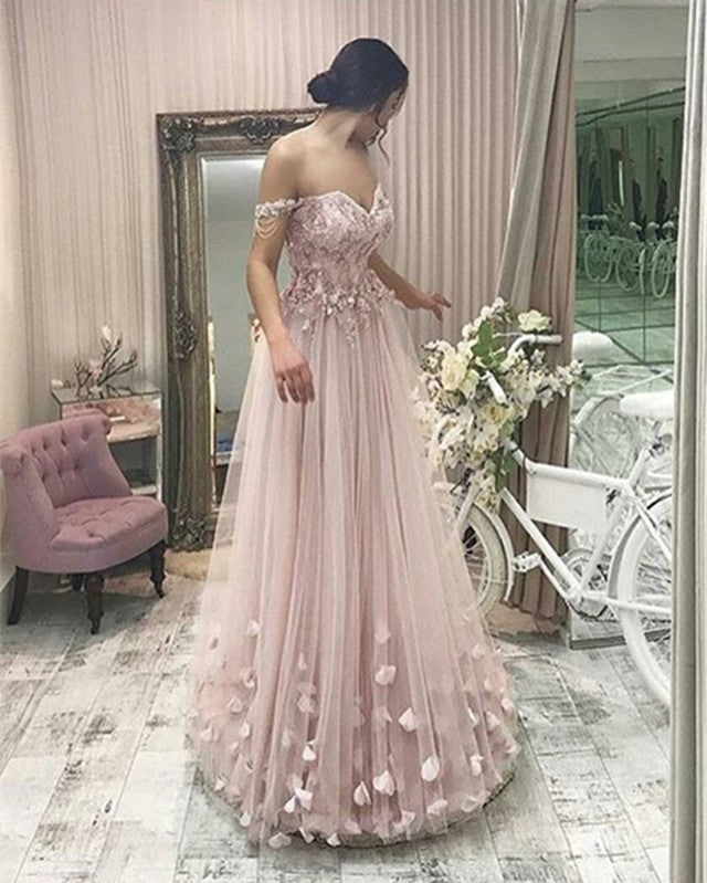 14fc24882a1 Long Tulle Off The Shoulder Gray Evening Dresses 2018 Formal Prom ...