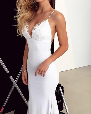 Image of Elegant Lace Appliques V-neck Backless Mermaid Wedding Dresses