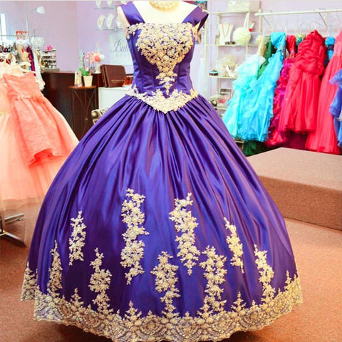 Image of Vintage Gothic Style Ball Gowns Quinceanera Dresses With Lace Appliques