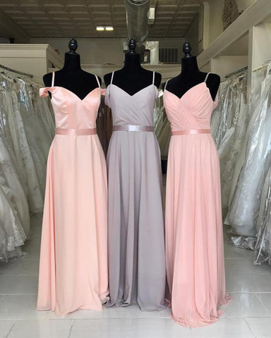 Image of Off The Shoulder V-neck Chiffon Bridesmaid Dresses Floor Length
