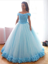 Load image into Gallery viewer, Bling Bling Sequins Beaded Corset Tulle Ball Gowns Flower Wedding Dress Off Shoulder